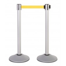 Steel stanchion w/ silver post and 7.5' yellow belt