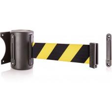 Steel wall mount - black & 13' yellow/black chevron belt