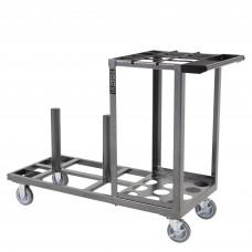 Empty steel stanchion cart