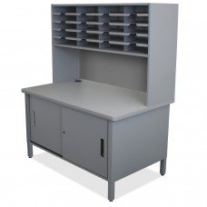 20 Slot Mailroom Organizer with Cabinet, Riser