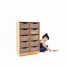 10 Cubby Mobile Tray Storage Cabinet