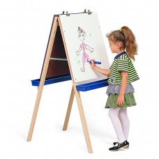 Adjustable Easel with Chalkboard, Write & Wipe Boards