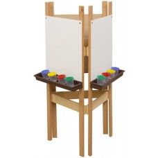 3-Sided Adjustable Easel with Markerboard & Brown Trays