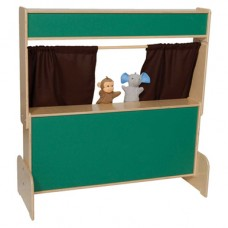 Deluxe Puppet Theater with Chalkboard & Brown Curtains