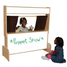 Deluxe Puppet Theater with Markerboard & Brown Curtains