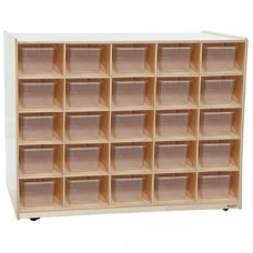25 Tray / Shelves Island with (25) Brown Trays