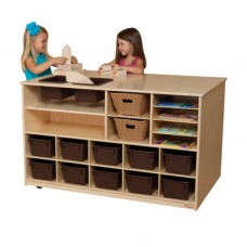 Mobile Storage Island with Brown Trays