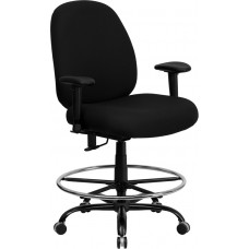 HERCULES Series Big & Tall 400 lb. Rated Black Fabric Drafting Chair with Adjustable Arms [WL-715MG-BK-AD-GG]
