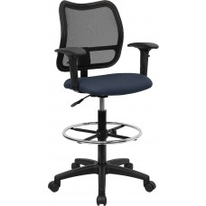 Mid-Back Navy Blue Mesh Drafting Chair with Adjustable Arms [WL-A277-NVY-AD-GG]
