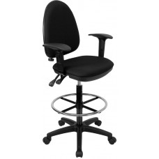Mid-Back Black Fabric Multifunction Drafting Chair with Adjustable Lumbar Support and Adjustable Arms [WL-A654MG-BK-AD-GG]