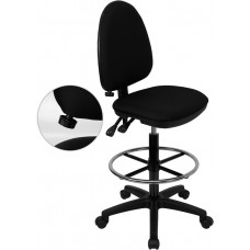 Mid-Back Black Fabric Multifunction Drafting Chair with Adjustable Lumbar Support [WL-A654MG-BK-D-GG]