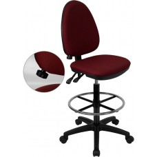 Mid-Back Burgundy Fabric Multifunction Drafting Chair with Adjustable Lumbar Support [WL-A654MG-BY-D-GG]