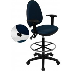 Mid-Back Navy Blue Fabric Multifunction Drafting Chair with Adjustable Lumbar Support and Adjustable Arms [WL-A654MG-NVY-AD-GG]