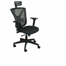 Executive Mesh Chair with Black Fabric only with Black Base and Headrest