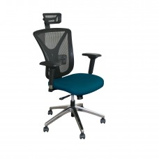 Executive Mesh Chair with Iris Fabric with Chrome Plated Base and Headrest