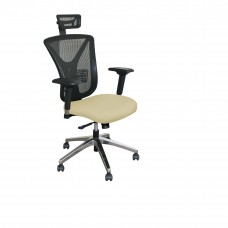 Executive Mesh Chair with Forsythia Fabric with Chrome Plated Base and Headrest