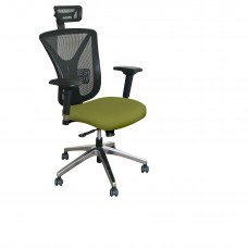 Executive Mesh Chair with Fennel Fabric with Chrome Plated Base and Headrest
