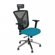 Executive Mesh Chair with Teal Fabric with Chrome Plated Base and Headrest