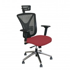 Executive Mesh Chair with Raspberry Fabric with Chrome Plated Base and Headrest