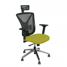 Executive Mesh Chair with Lime Fabric with Chrome Plated Base and Headrest