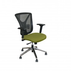 Executive Mesh Chair with Fennel Fabric and Chrome Plated Base