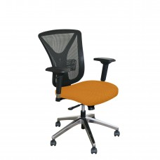 Executive Mesh Chair with Orange Fabric and Chrome Plated Base