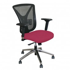 Executive Mesh Chair with Raspberry Fabric and Chrome Plated Base