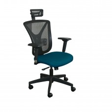 Executive Mesh Chair with Iris Fabric with Black Base and Headrest