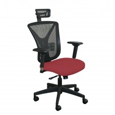 Executive Mesh Chair with Raspberry Fabric with Black Base and Headrest