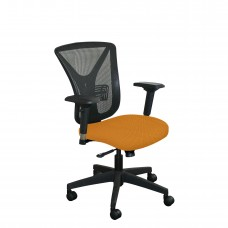 Executive Mesh Chair with Orange Fabric and Black Base