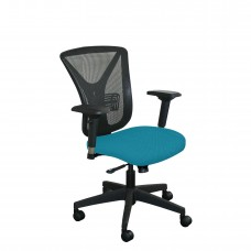 Executive Mesh Chair with Teal Fabric and Black Base