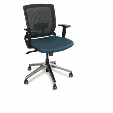 Mid-Back Executive  Mesh Chair with Iris Fabric and Chrome Plated Base