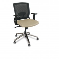 Mid-Back Executive  Mesh Chair with Flax Fabric and Chrome Plated Base