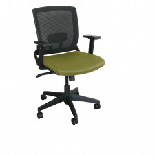 Mid-Back Executive  Mesh Chair with Fennel Fabric and Black Base
