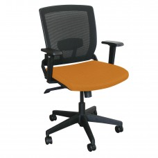 Mid-Back Executive  Mesh Chair with Orange Fabric and Black Base