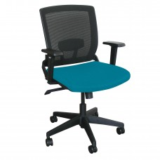 Mid-Back Executive  Mesh Chair with Teal Fabric and Black Base