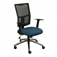 Task Mesh Chair with Iris Fabric and Chrome Plated Base