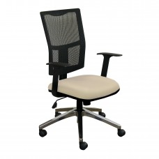 Task Mesh Chair with Flax Fabric and Chrome Plated Base