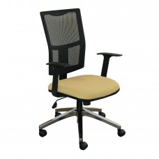 Task Mesh Chair with Forsythia Fabric and Chrome Plated Base