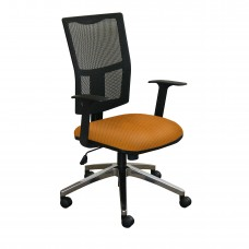 Task Mesh Chair with Orange Fabric and Chrome Plated Base