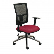 Task Mesh Chair with Raspberry Fabric and Chrome Plated Base
