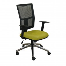 Task Mesh Chair with Lime Fabric and Chrome Plated Base
