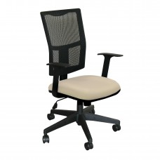 Task Mesh Chair with Flax Fabric and Black Base