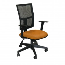 Task Mesh Chair with Orange Fabric and Black Base