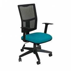 Task Mesh Chair with Teal Fabric and Black Base