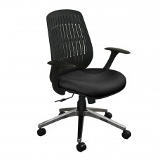 The Wave Flex-back  Chair with Black Fabric only and Chrome Plated Base
