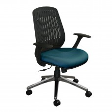 The Wave Flex-back  Chair with Iris Fabric and Chrome Plated Base