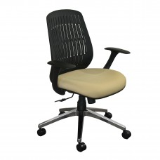 The Wave Flex-back  Chair with Flax Fabric and Chrome Plated Base