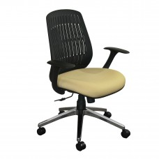 The Wave Flex-back  Chair with Forsythia Fabric and Chrome Plated Base