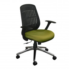 The Wave Flex-back  Chair with Fennel Fabric and Chrome Plated Base
